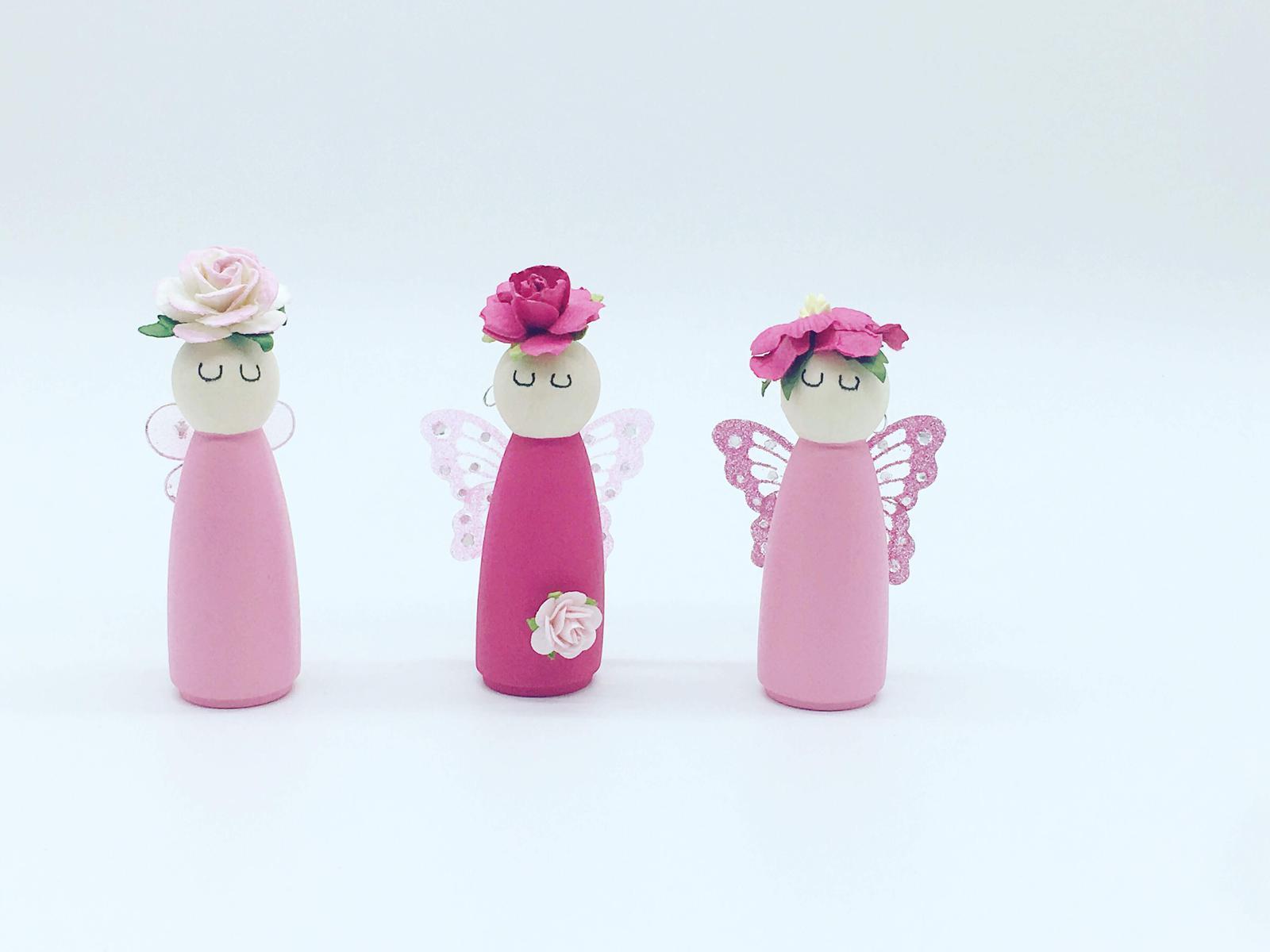 Pretty pink fairy peg dolls