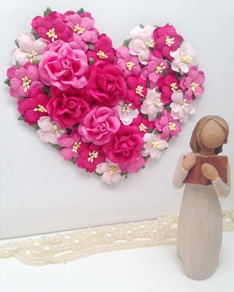 20cm heart with range of pinks