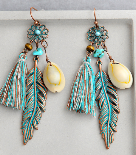 Handmade Boho Shell & Copper Earrings