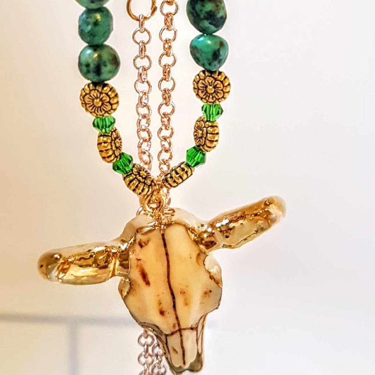 Handmade Turquoise Stone & Crystal Boho Skull Necklace