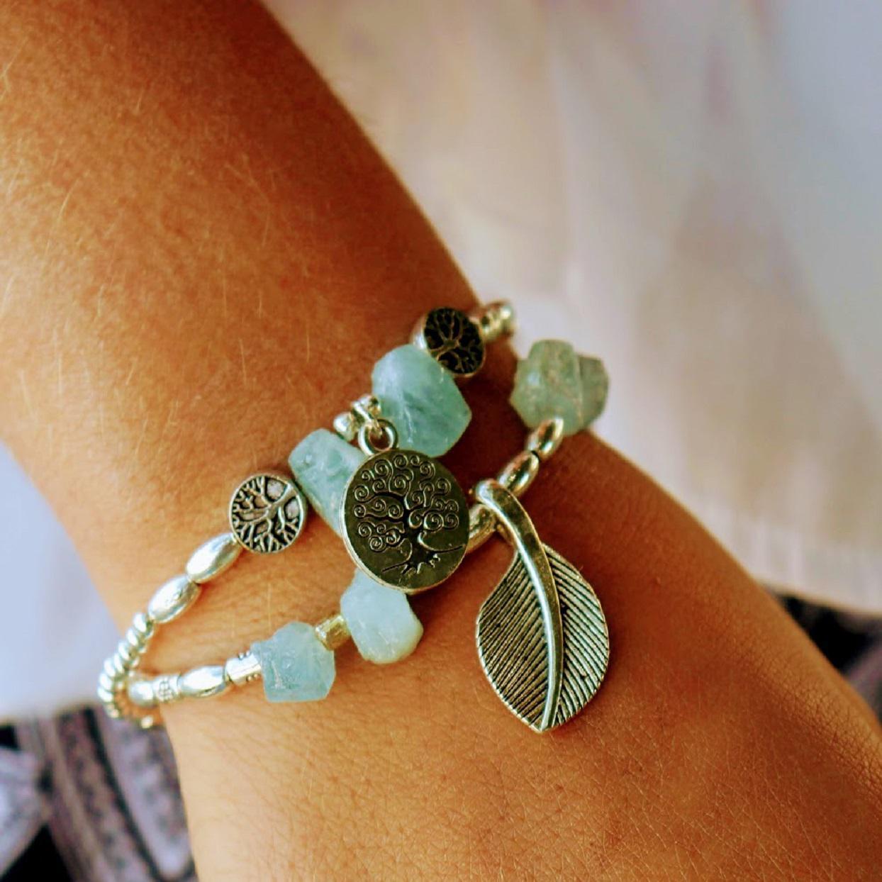 Handmade Aqua Crystal Silver Bracelets