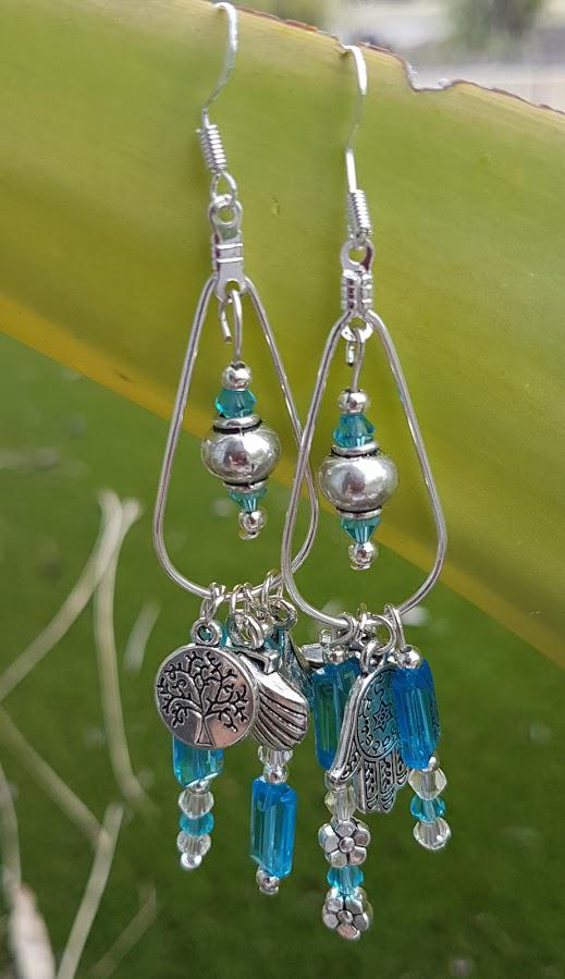 Handmade Silver & Aqua crystal Earrings