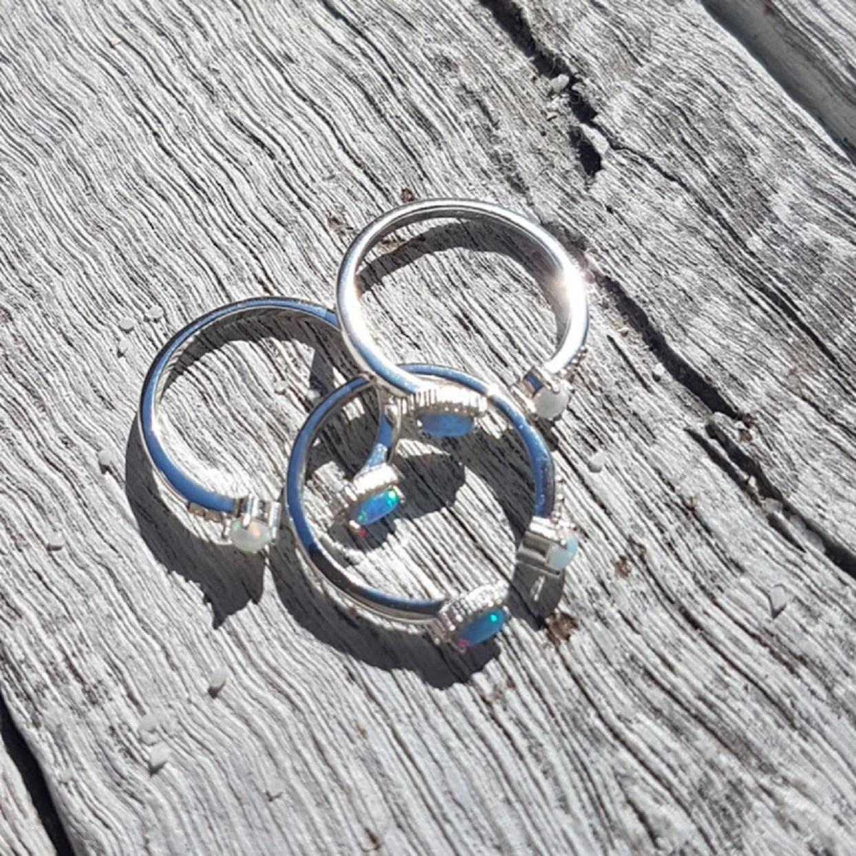 Handmade S.A. Silver Opal Rings