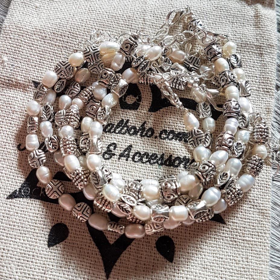 Handmade Rice Pearl & Silver Charm Bracelets