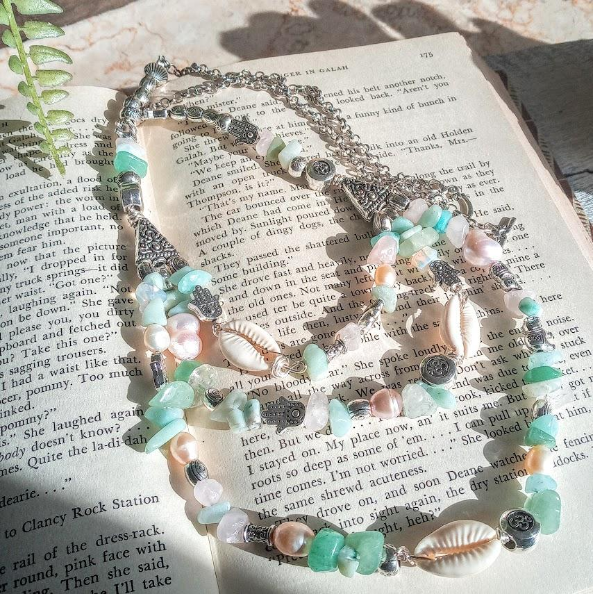 A Mermaid Turquoise Pearl & Shell Handmade Three Tier Necklace