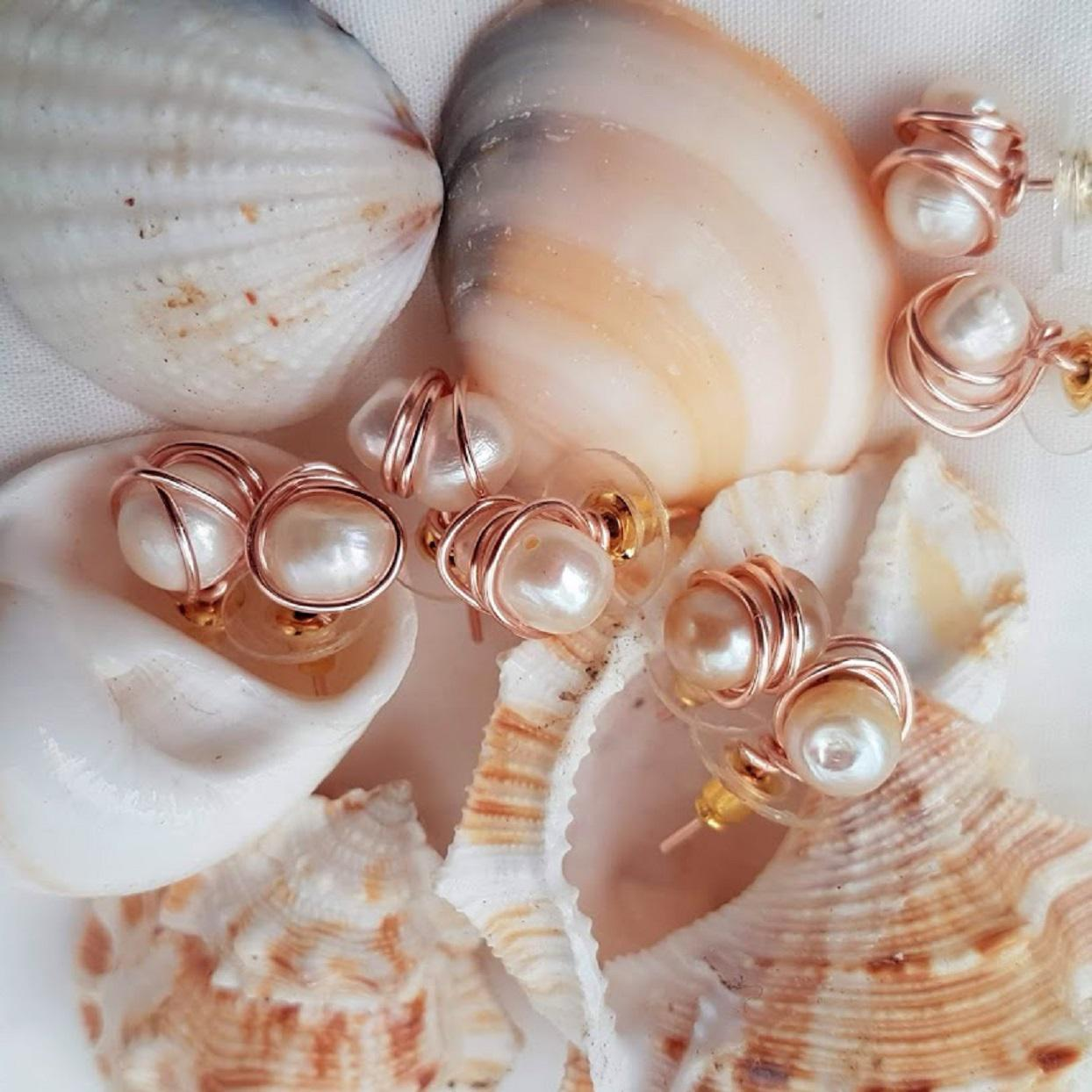 A Unique Handmade set of Rose Gold Pearl Earrings