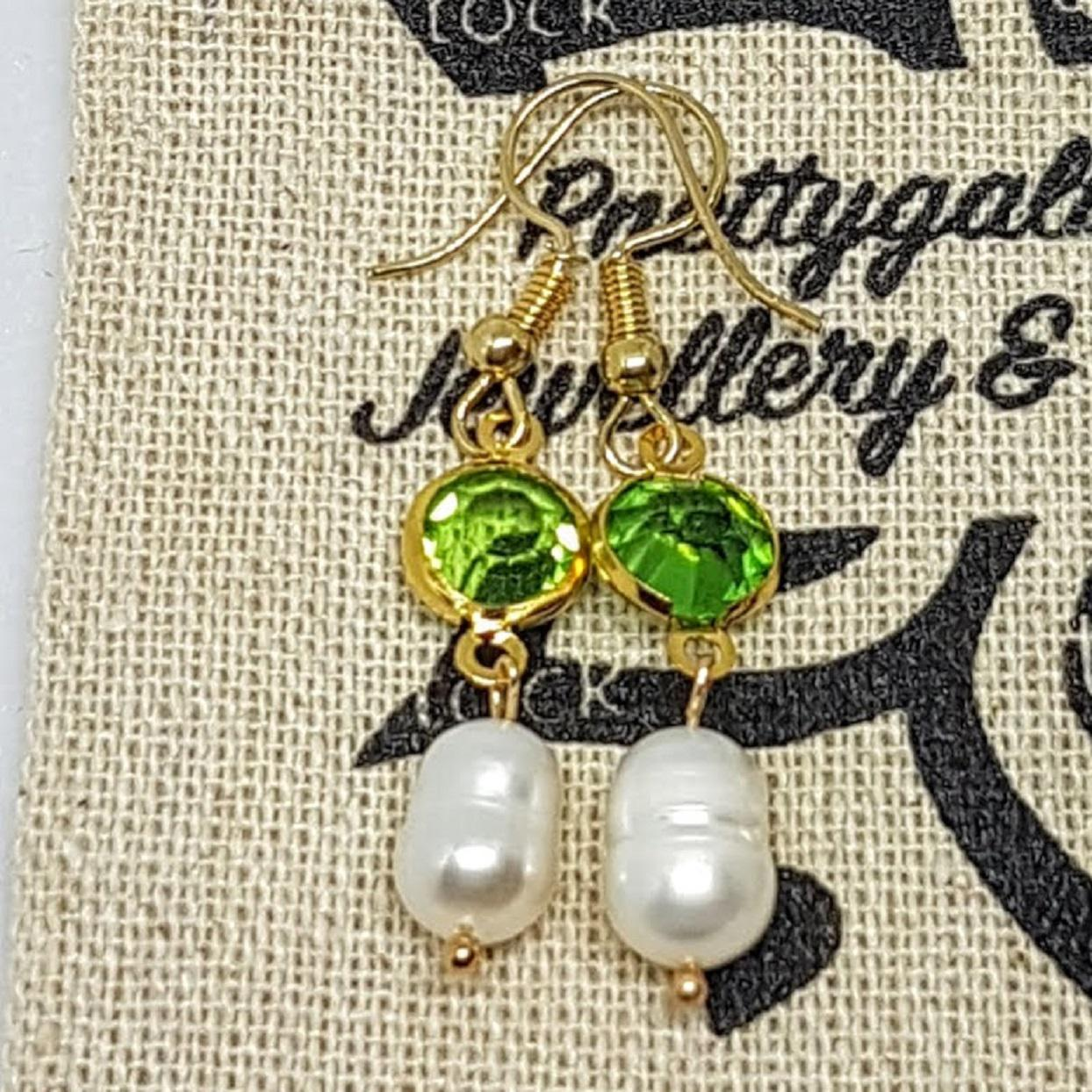 Handmade Pearl Rose Gold Earrings Green Crystal