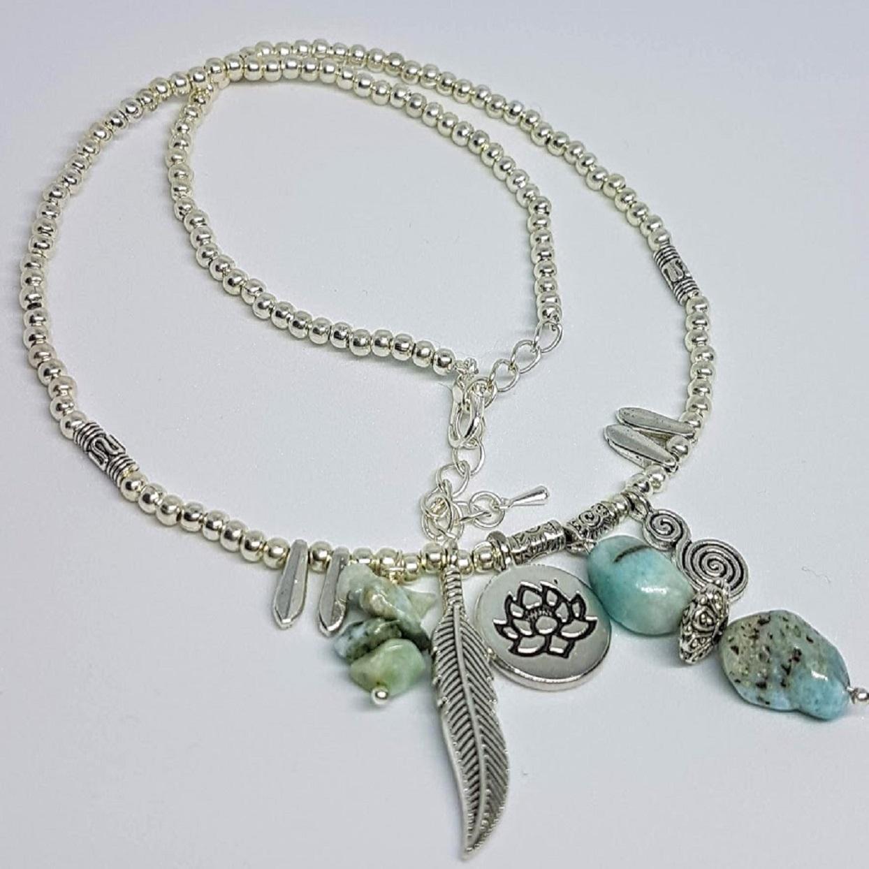 Handmade Larimar charm necklace
