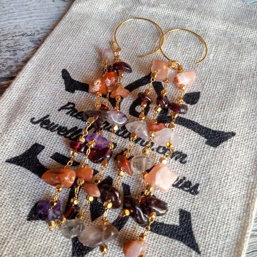 Amethyst Sunstone long Dangly Earrings