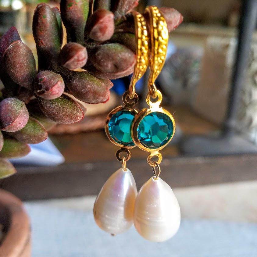 Baroque large Pearl & Crystal Earring