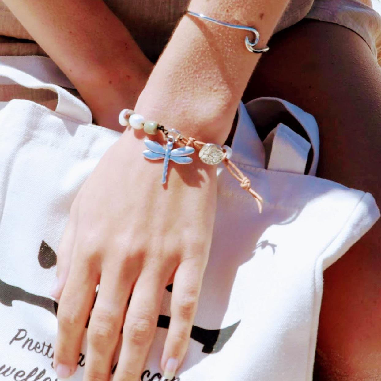 Handmade Dragonfly Agate & Freshwater Pearl Bracelet