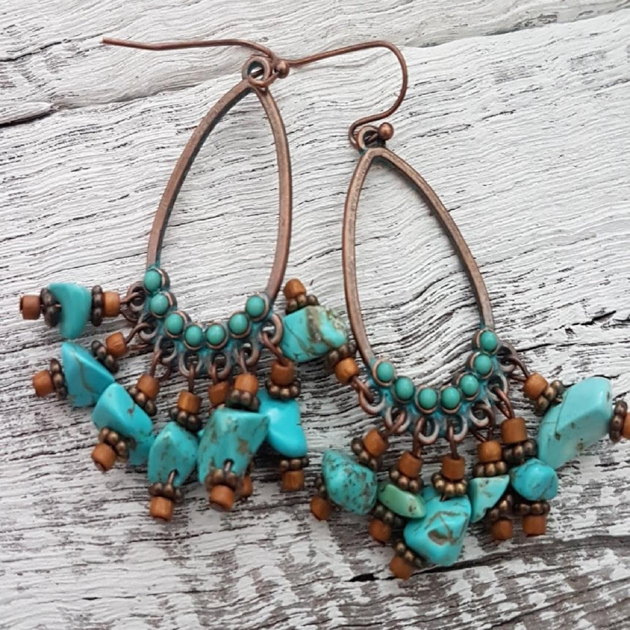 Handmade Turquoise & Brass Drop Earrings