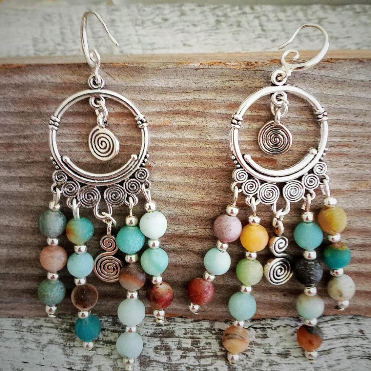 Amazonite Chakra Stone Handmade Earrings