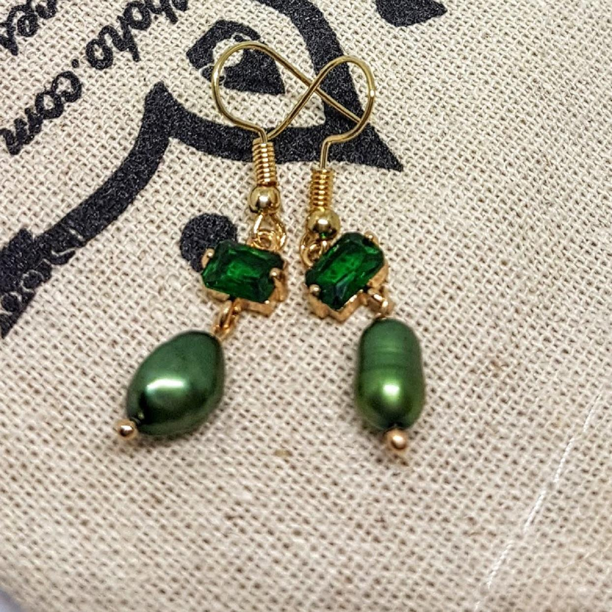 Green Crystal & Baroque Freshwater Handmade Earrings