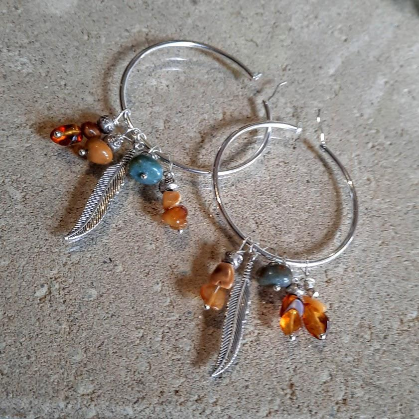 Amber & Agate Handmade 925 Silver Boho Hoops with Hilltribe Silver charms