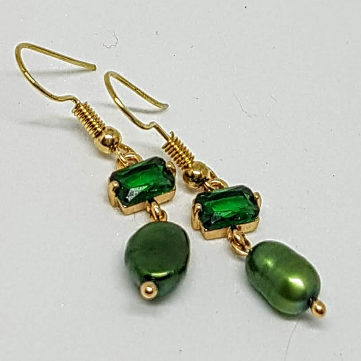 Handmade Pearl Rose Gold Earrings Emerald Crystal & Green Pearl