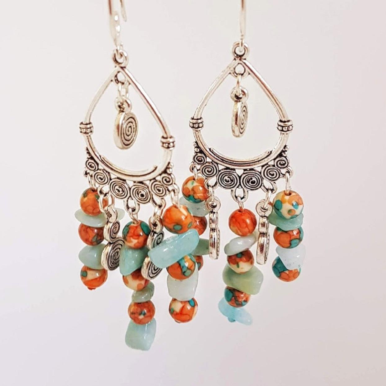 Jasper & Turquoise Stone Handmade Drop Earrings