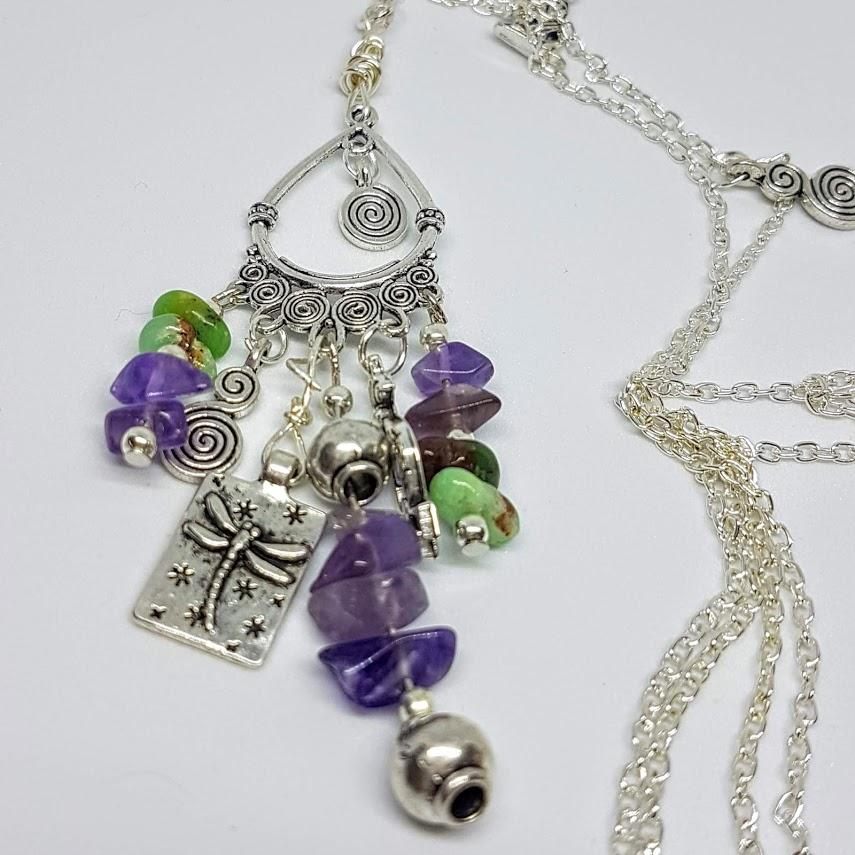 Dragonfly Amethyst & Aventure Handmade Necklace