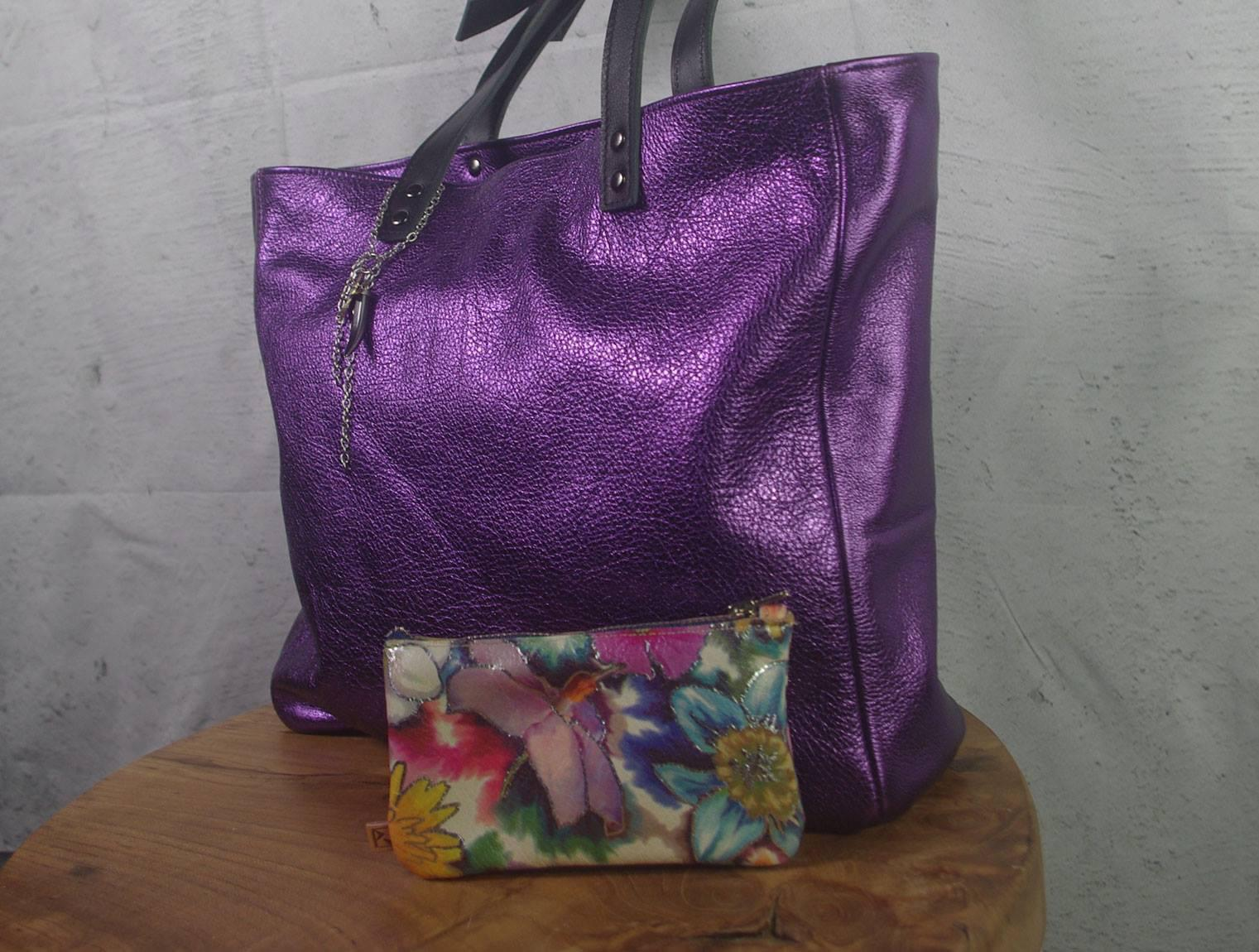 Metallic Tote with coin purse