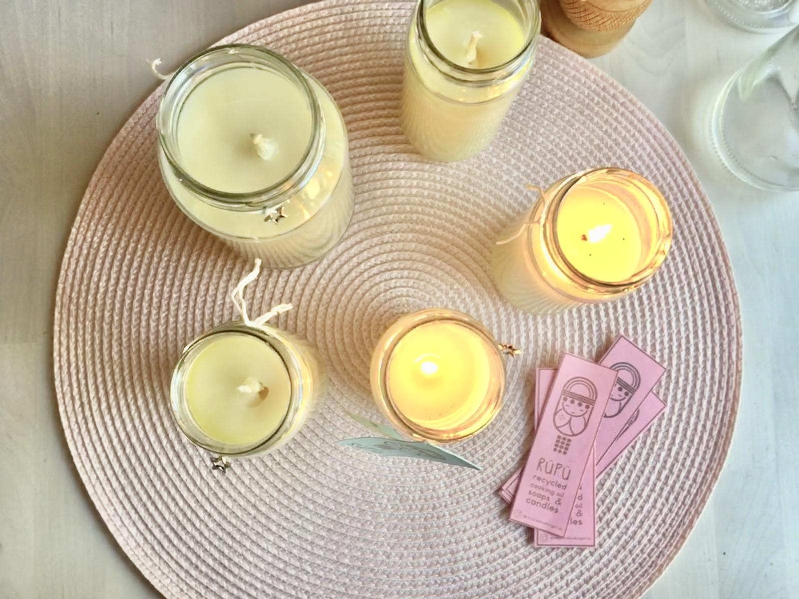 Recycled cooking oil candles