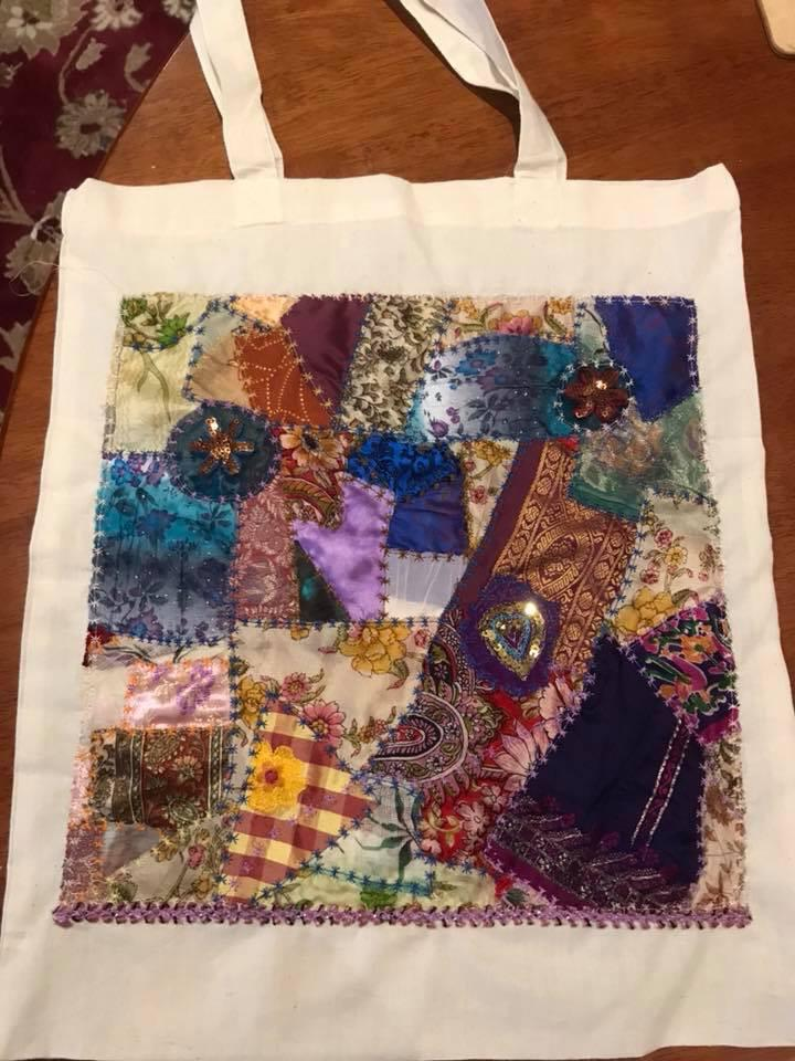 Altered silk shopping bags