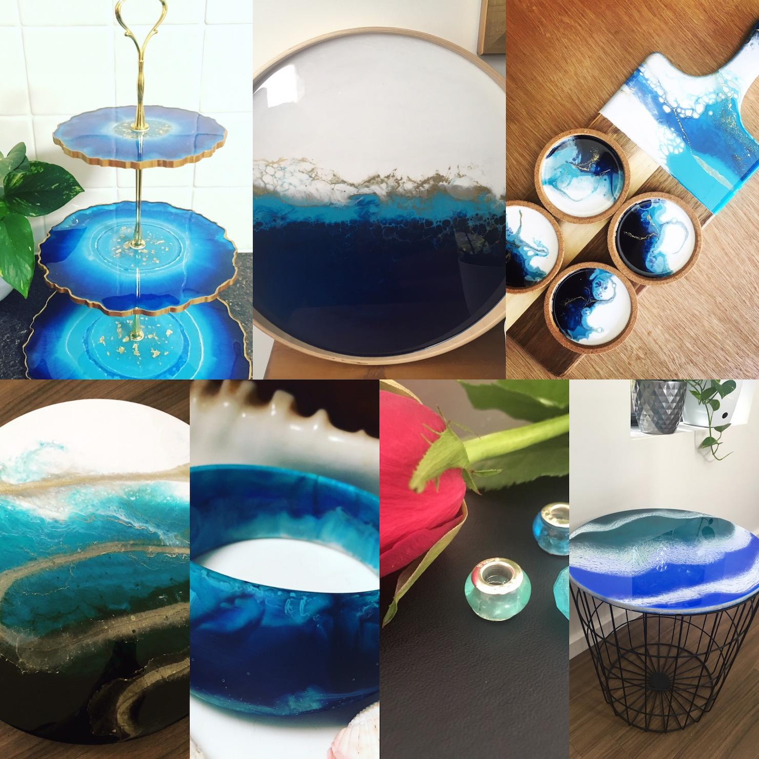 Resinating Blue homewares & jewellery