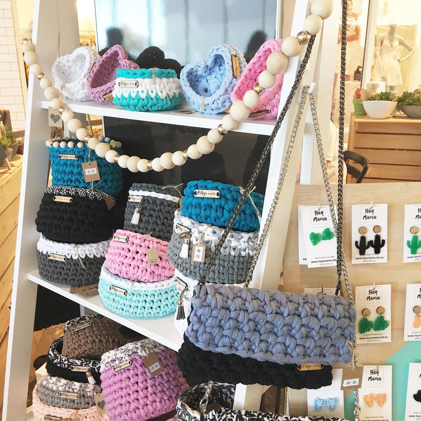 Crochet baskets and clutch