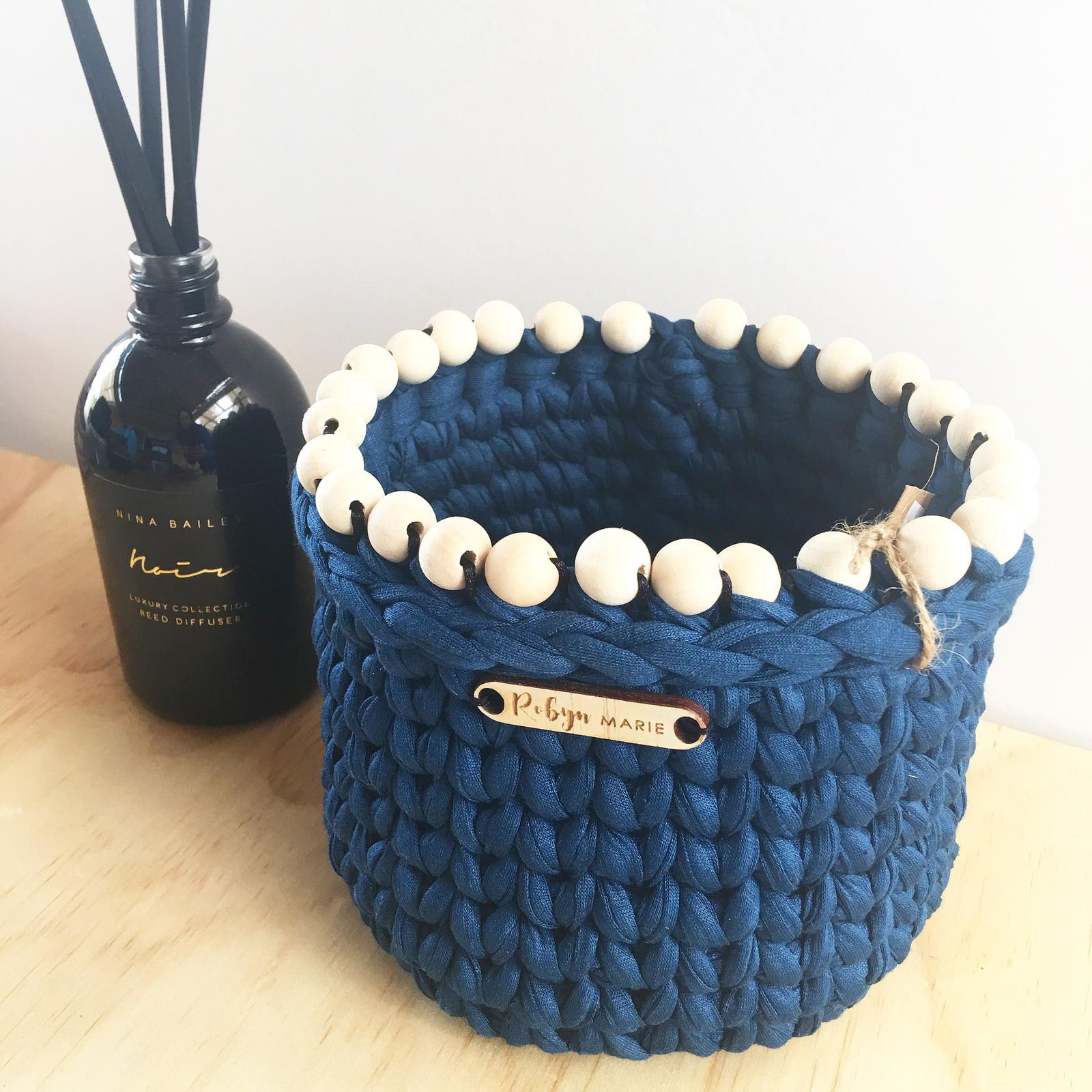 Crochet planter with timber bead trim