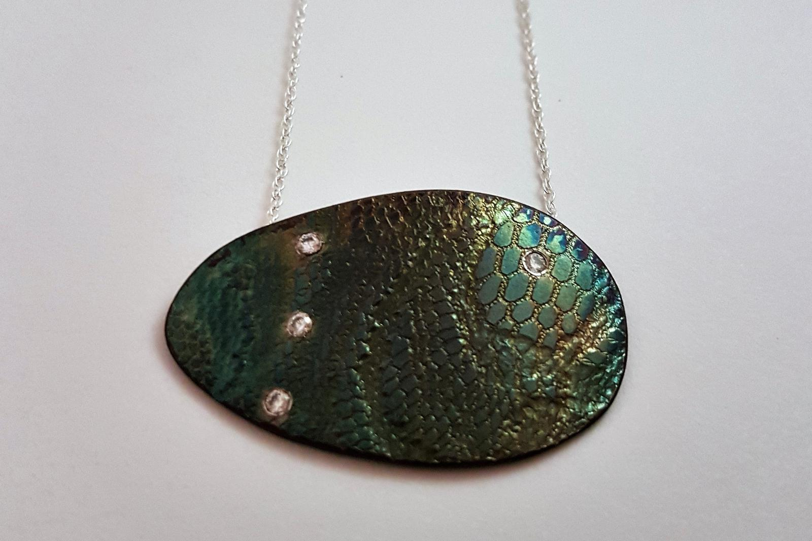Oxidised Sterling Silver Lace Pendant