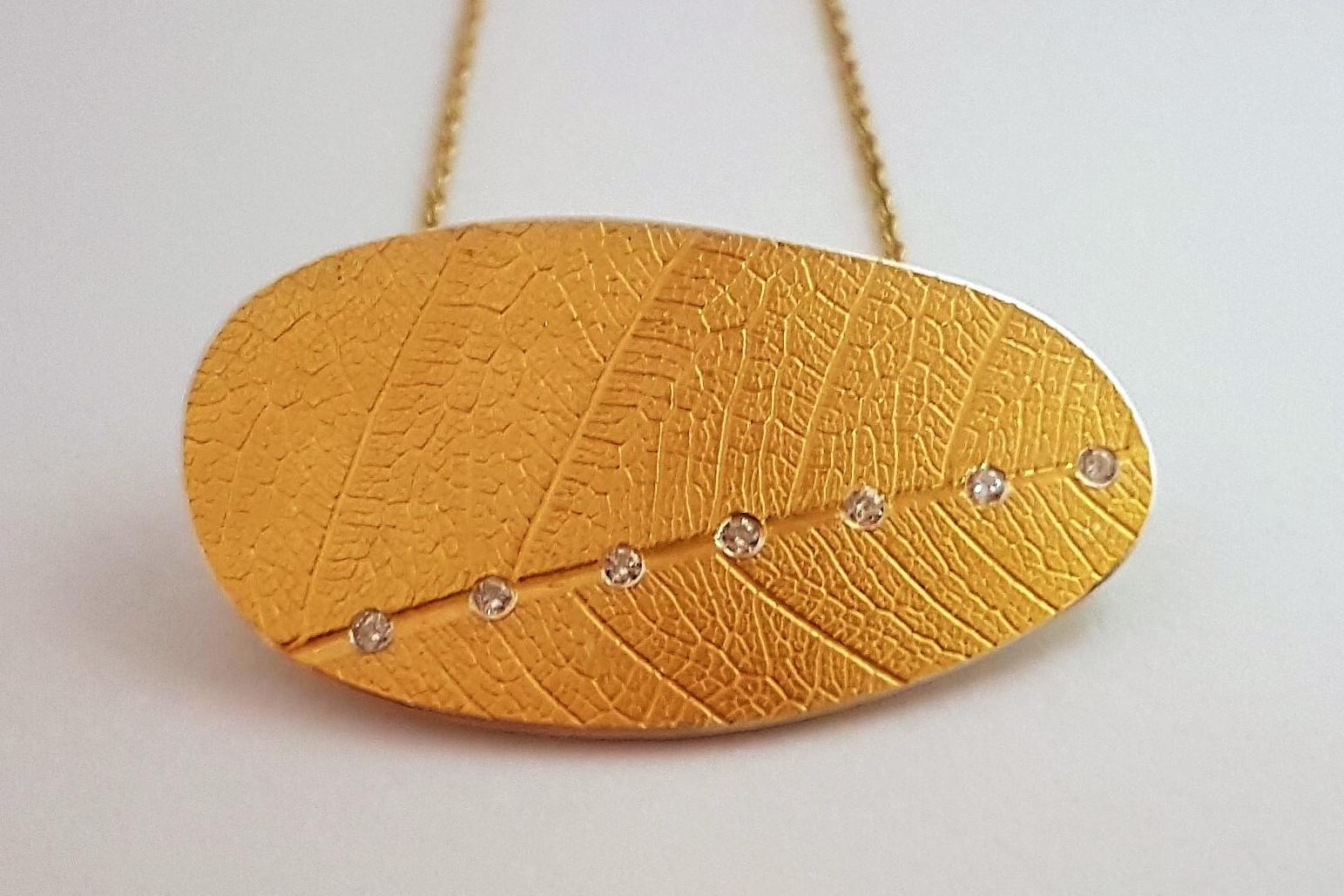 Keum Boo Leaf Pendant
