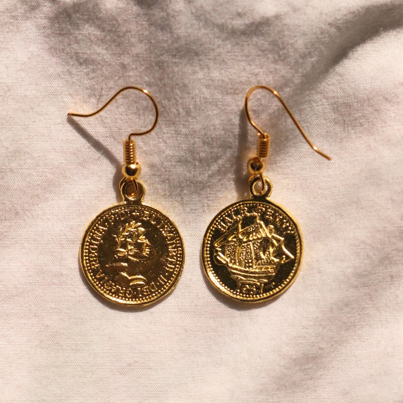 recycled earrings - Golden Greek