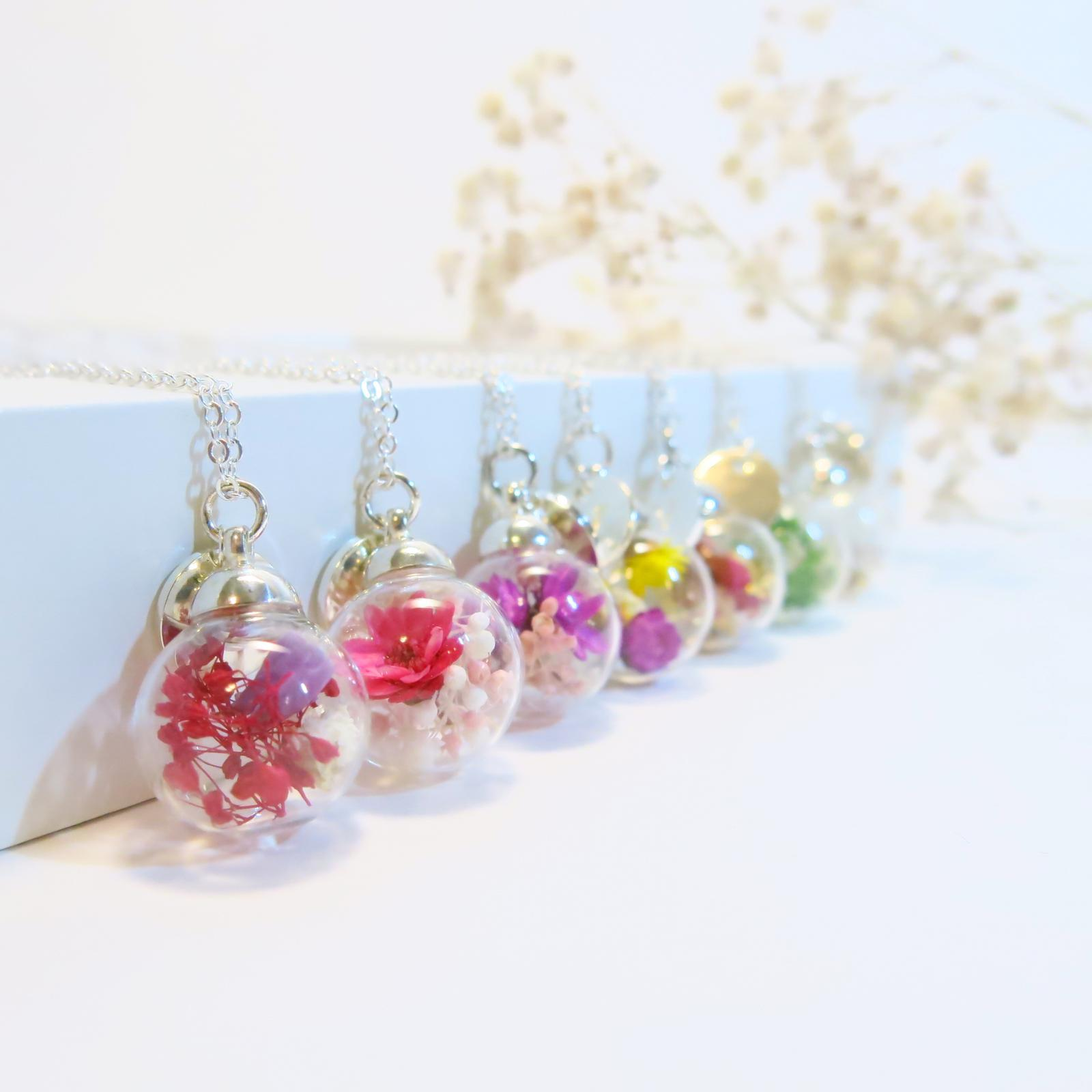 Glass Ball Dry Flowers Personality Necklace