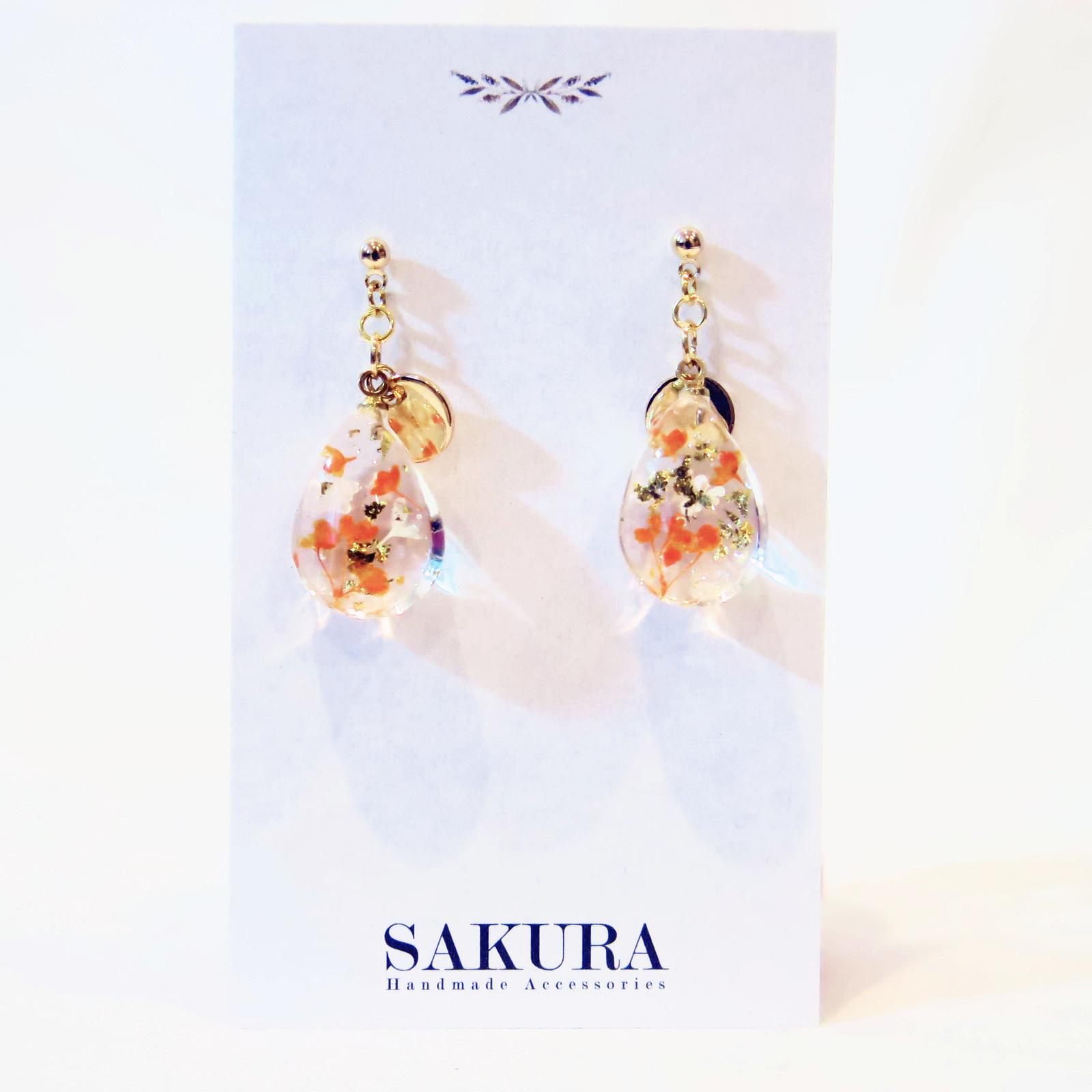 2017-2018 *New Design* Gemstone Pressed Flower Drop Earring_Orange