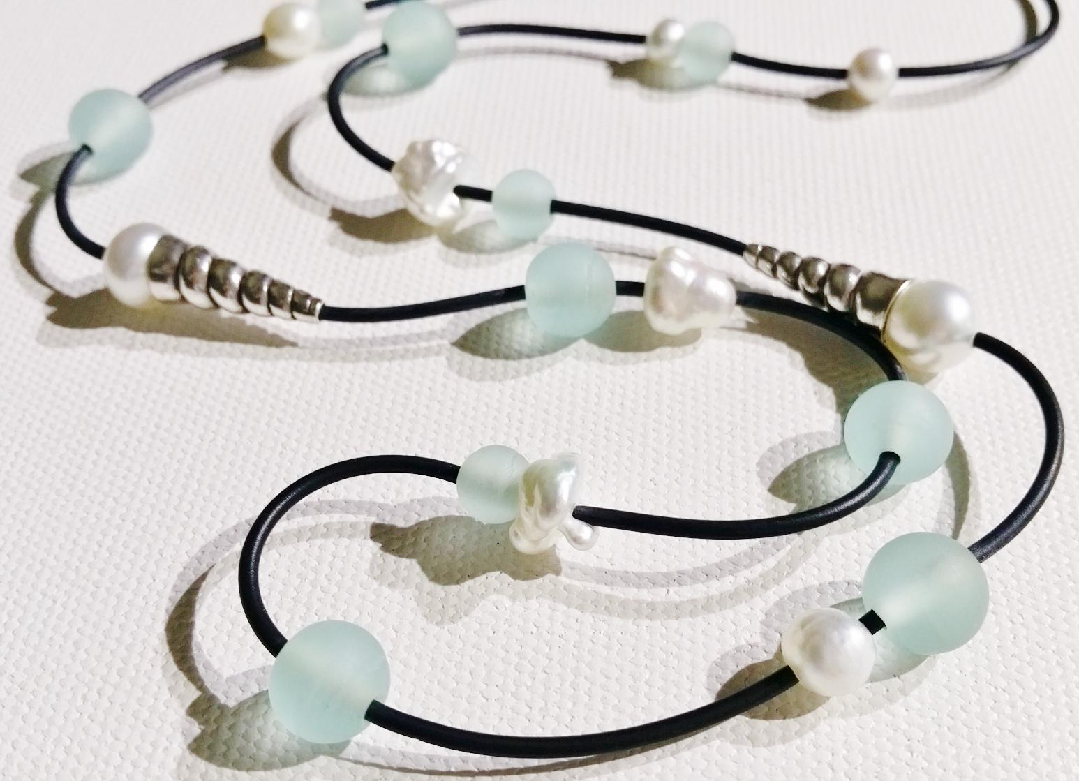 Shark Bay Colours, glass bead necklace featuring Broome pearls