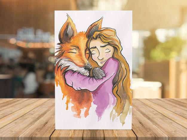 """Girl and Fox"" postcard"