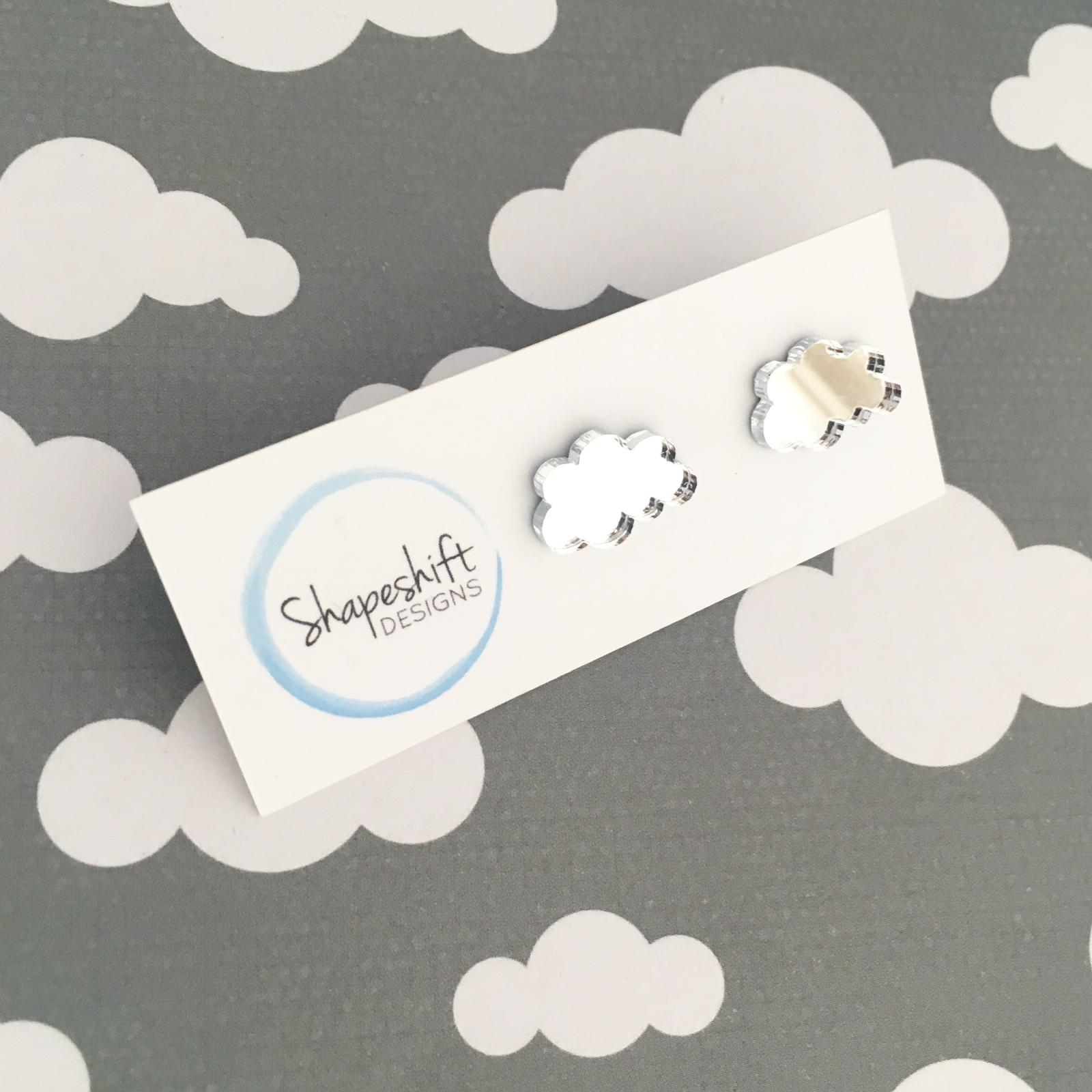Laser Cut Acrylic Mirror Cloud Studs