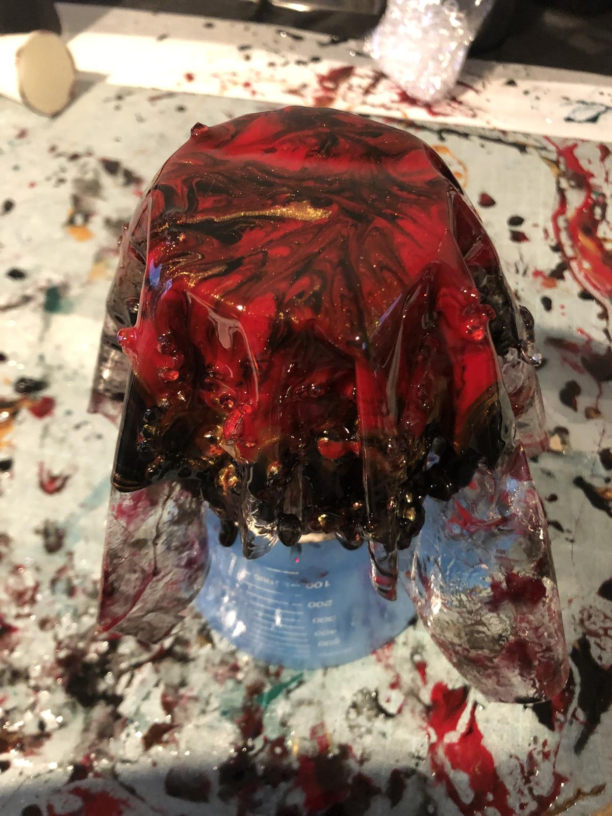 a free form resin dish in the process of being completed