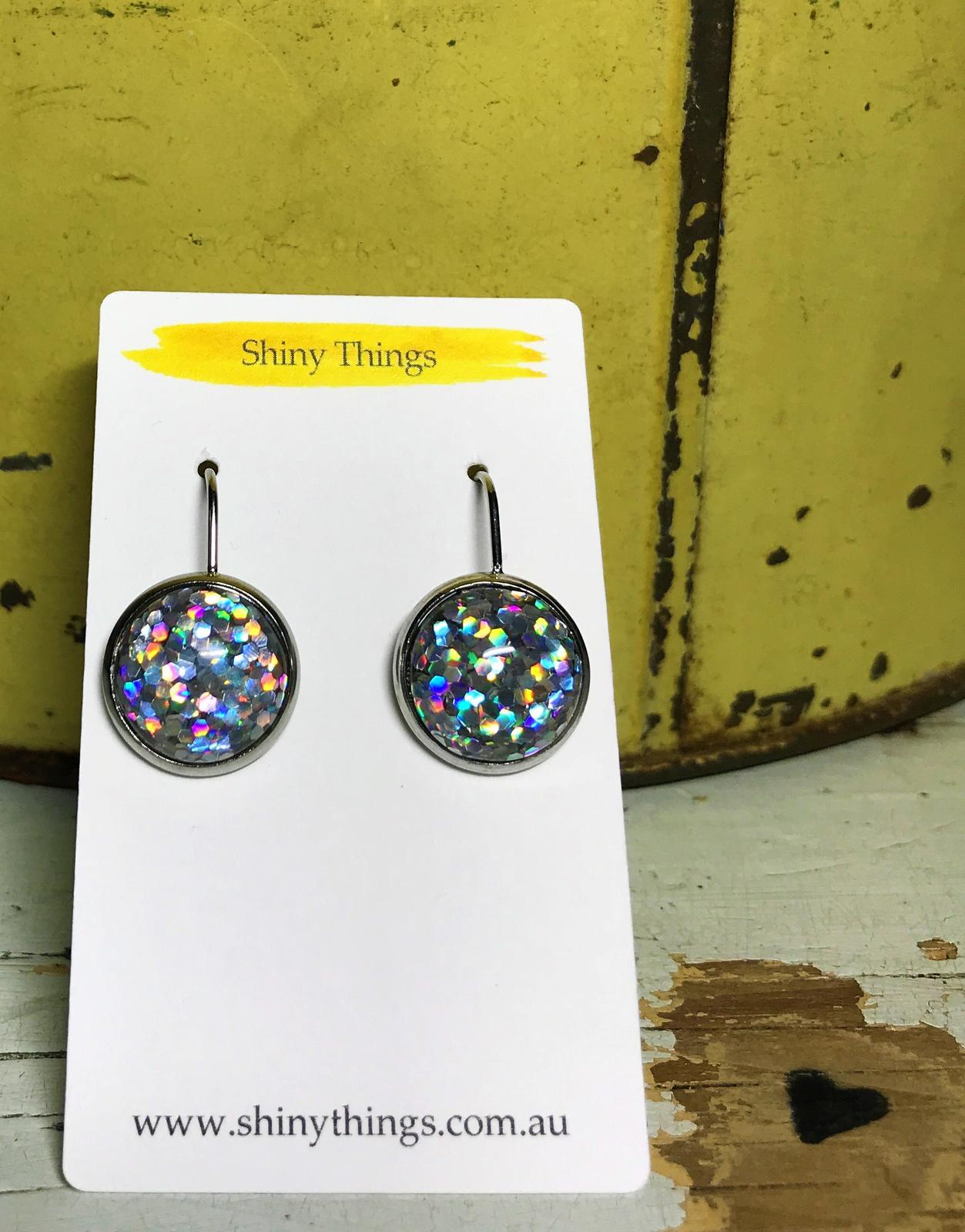 Glitter hook earrings