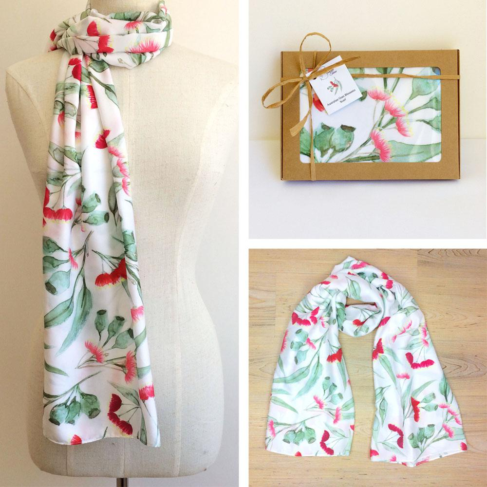 Gum Blossoms White Scarf