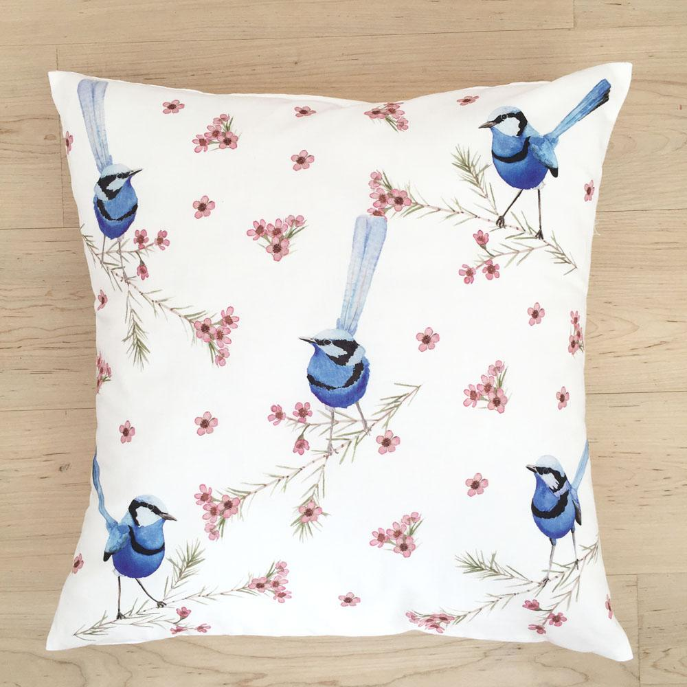 Blue Wren Cushion Cover