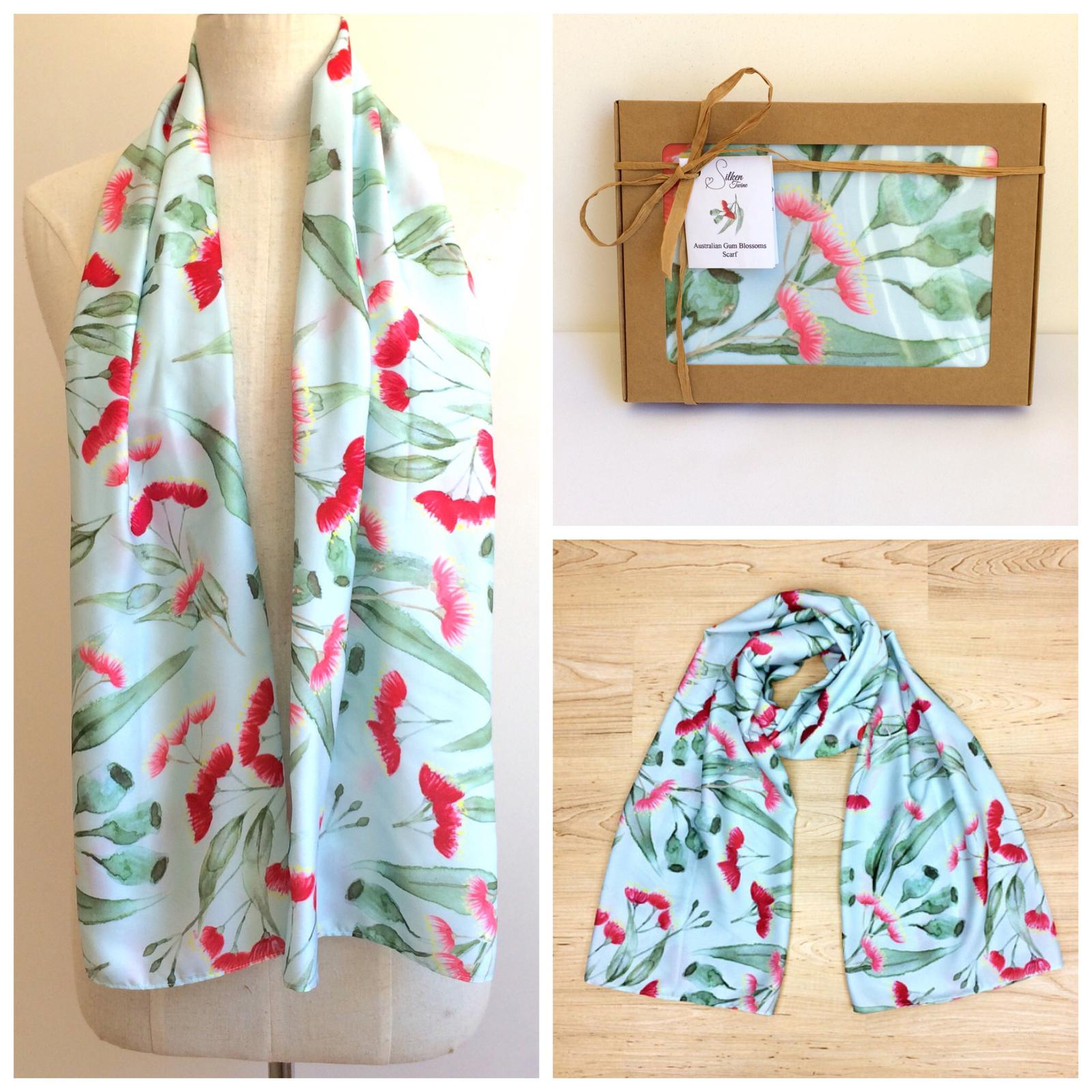 Gum Blossoms Mint Scarf