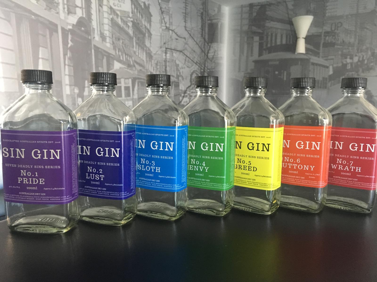 Sin Gin Distillery 7 Deadly Sins Range