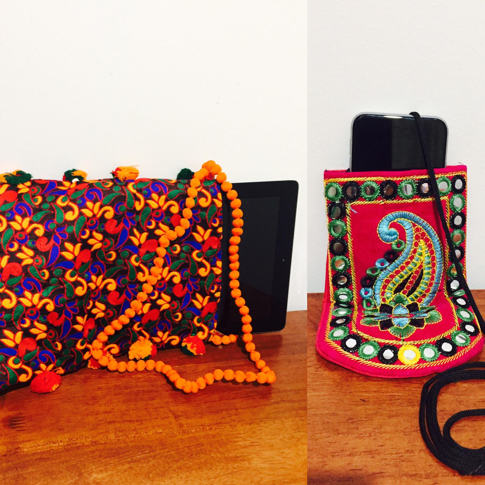 Handcrafted embroidered iPad /tablet carry on bag, mobile holder sling bag.