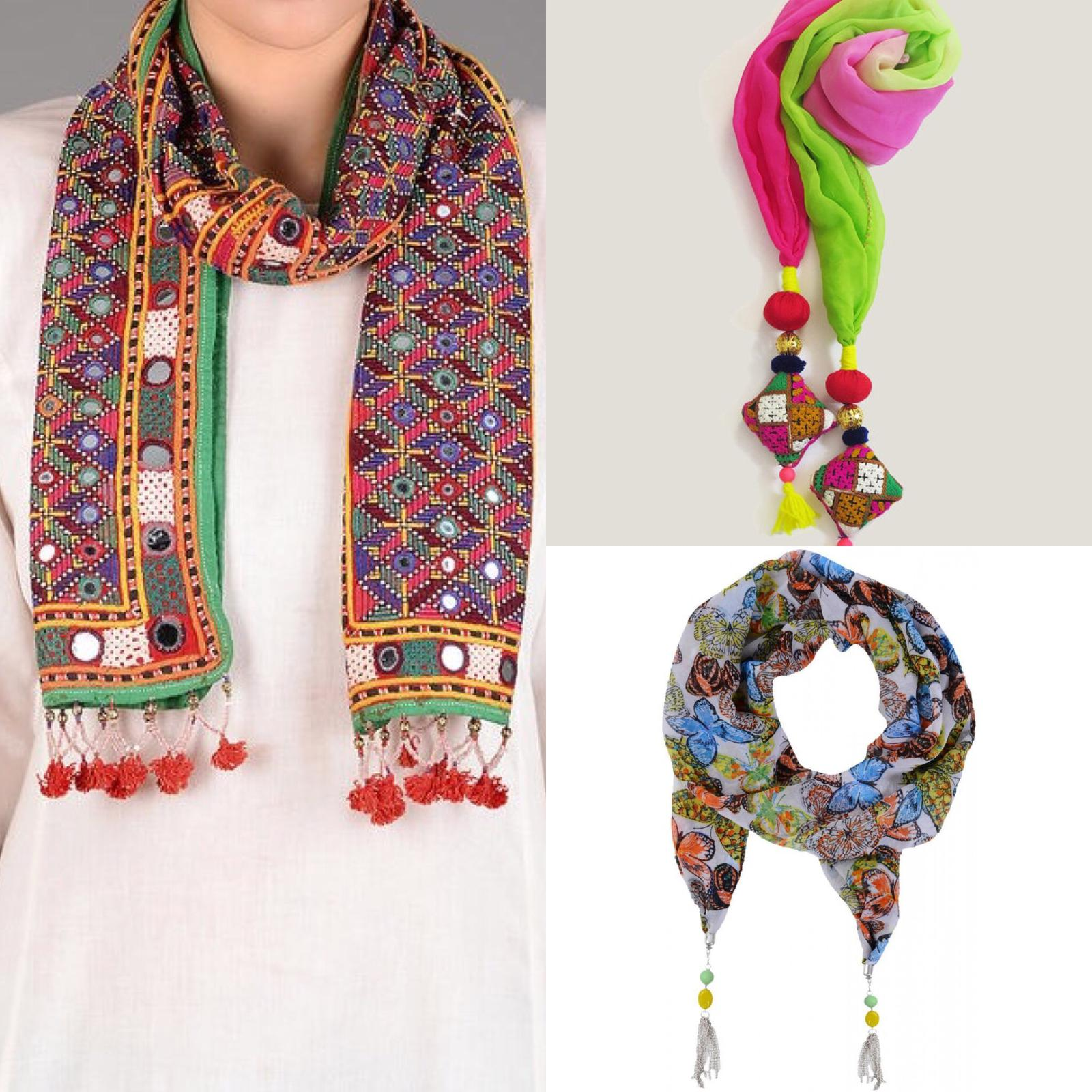 All season Handcrafted scarves - embroidery and tassel work