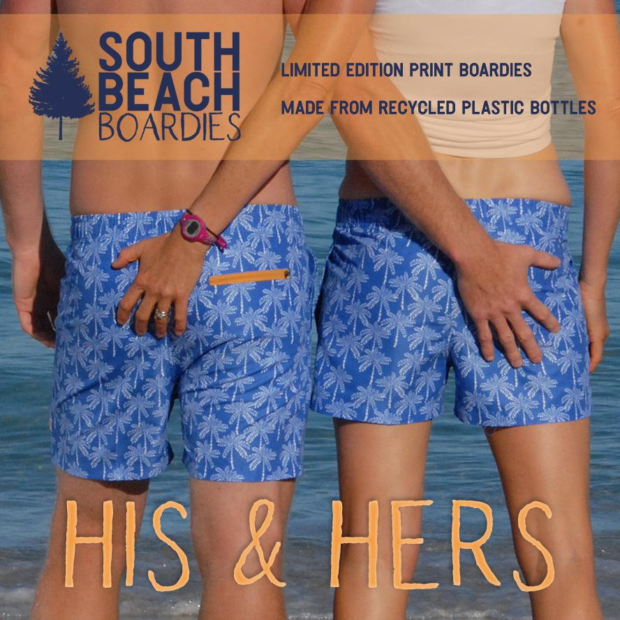 Matching Boardies, limited-edition prints, made from recycled plastic bottles