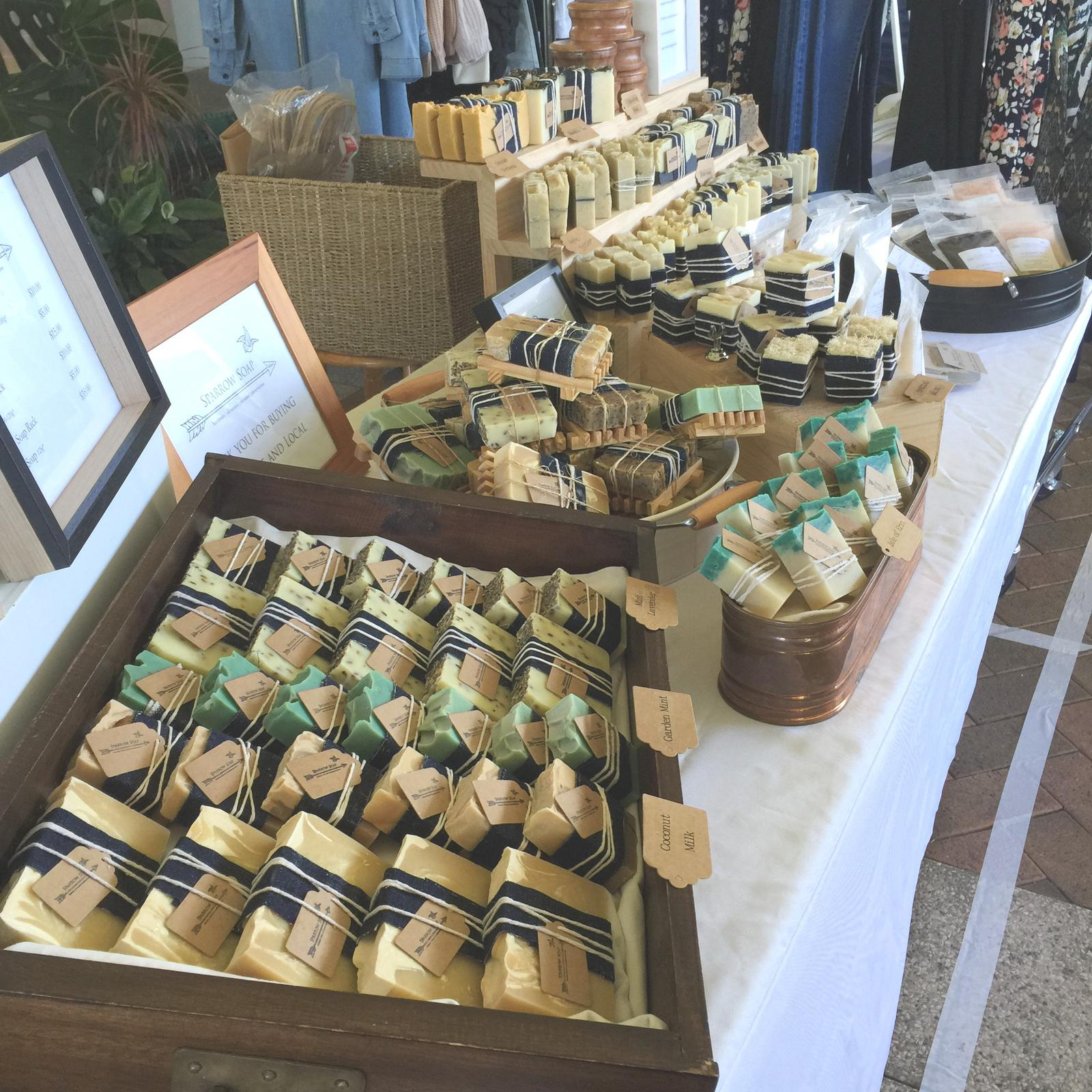Sparrow Soap market display