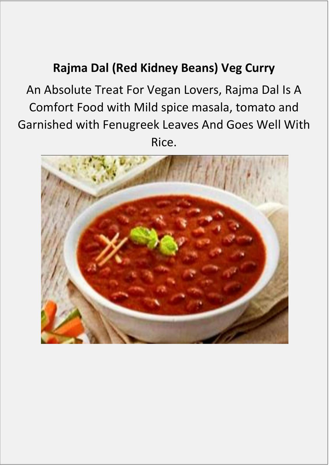 Rajma Dal (Red Kidney Beans) Veg Curry