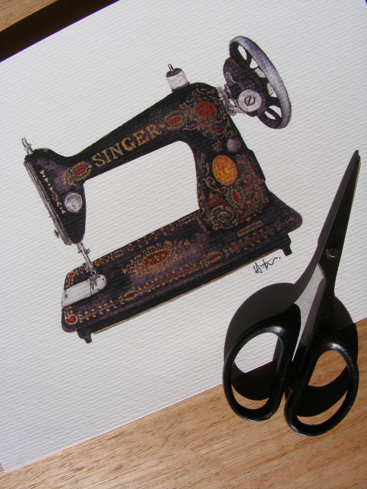 Singer Sewing Machine - Watercolour Illustration Print