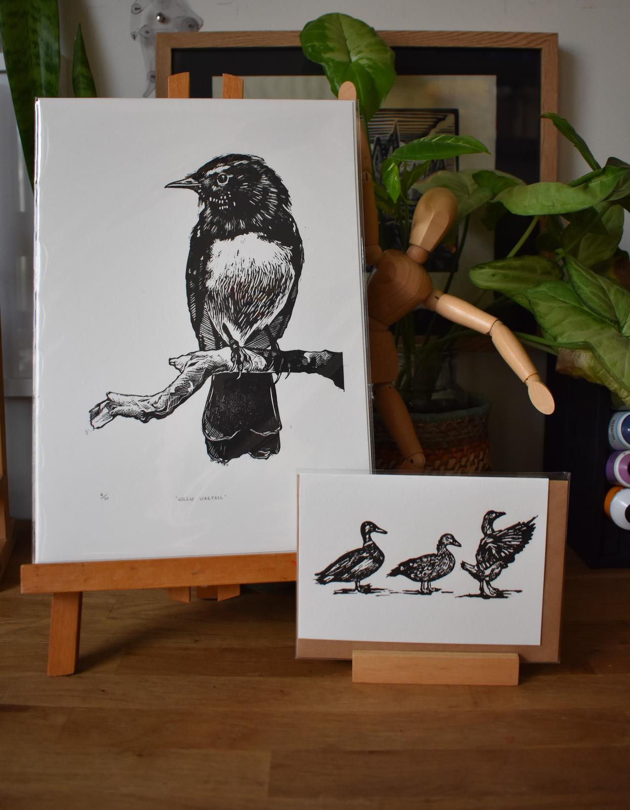 'Willie Wagtail' Relief Print & 'Duck, Duck, Goose' Card