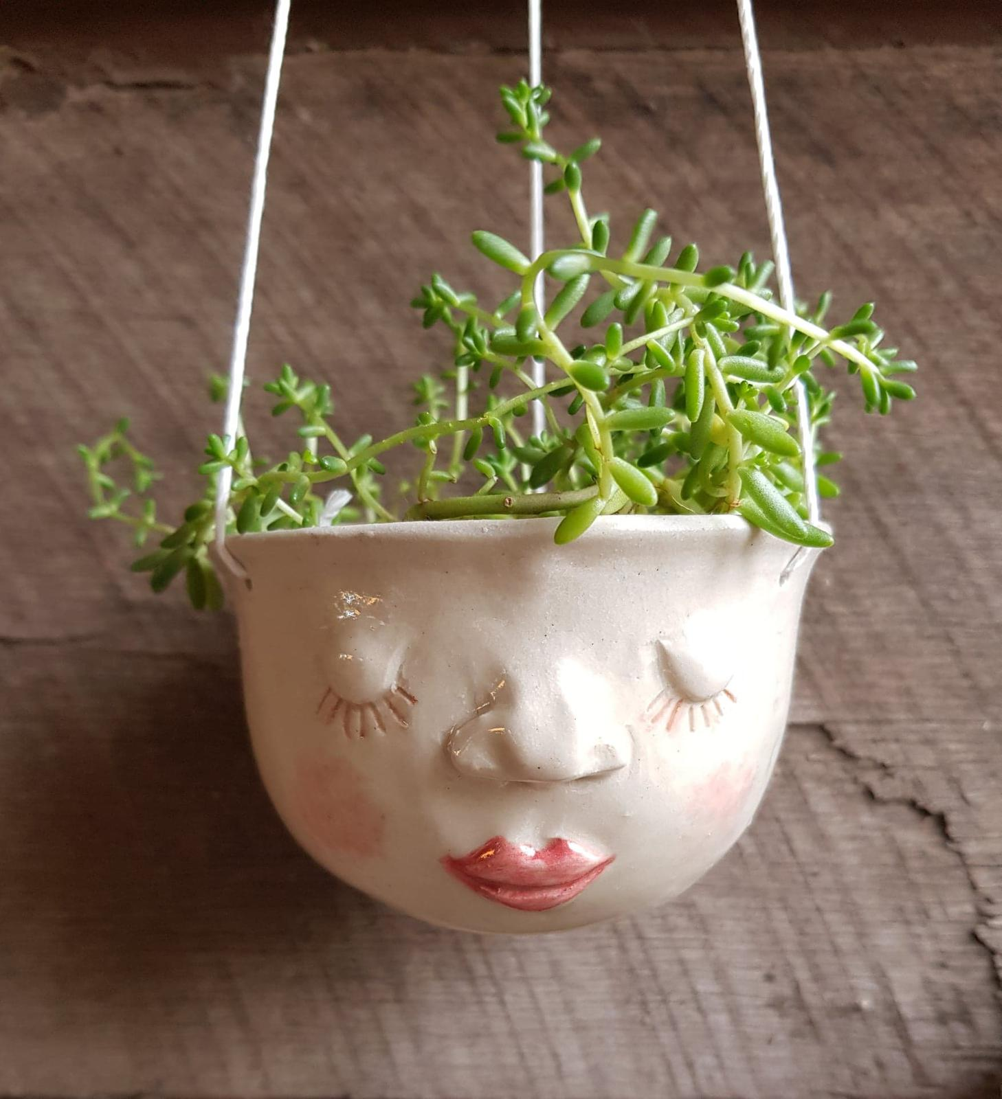 Small Hanging Planter with Sleepy Face